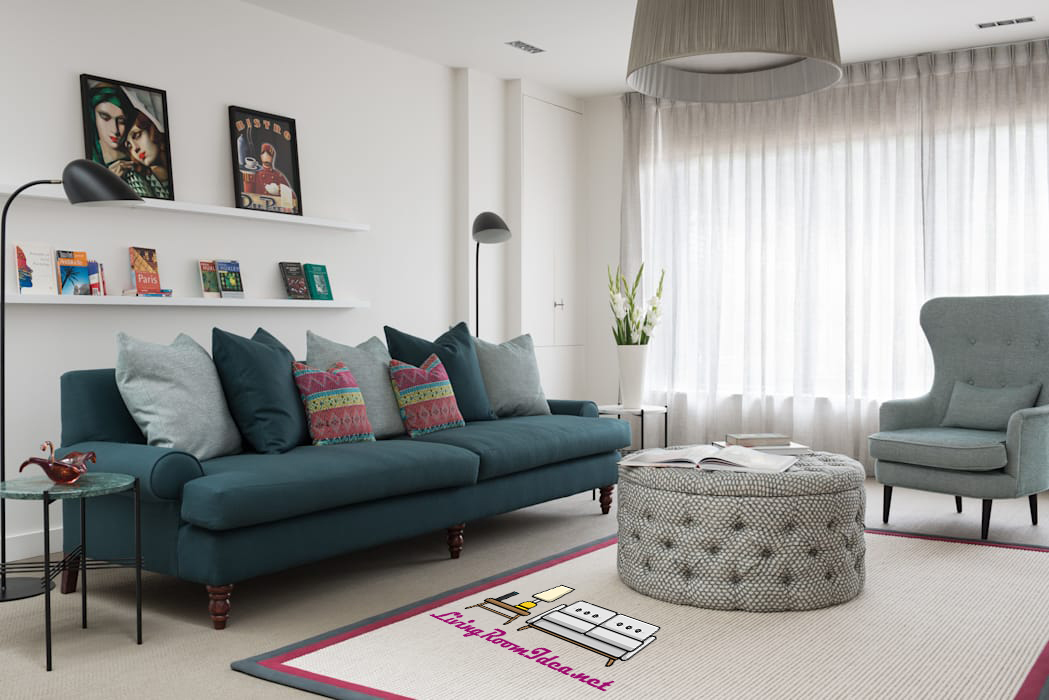 Small Living Room Ideas – Cool colors make the area wider