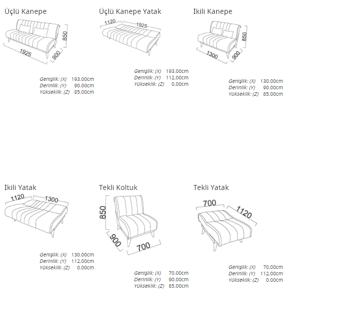 Nidya Major Living Room Set Product sizes