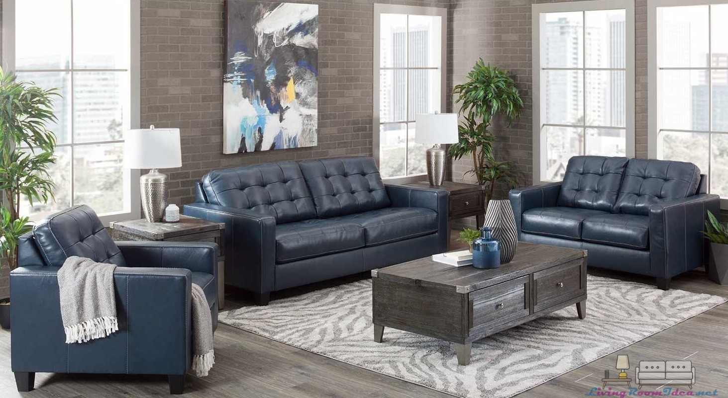 Altonbury Leather 3 Pieces Sofa Set