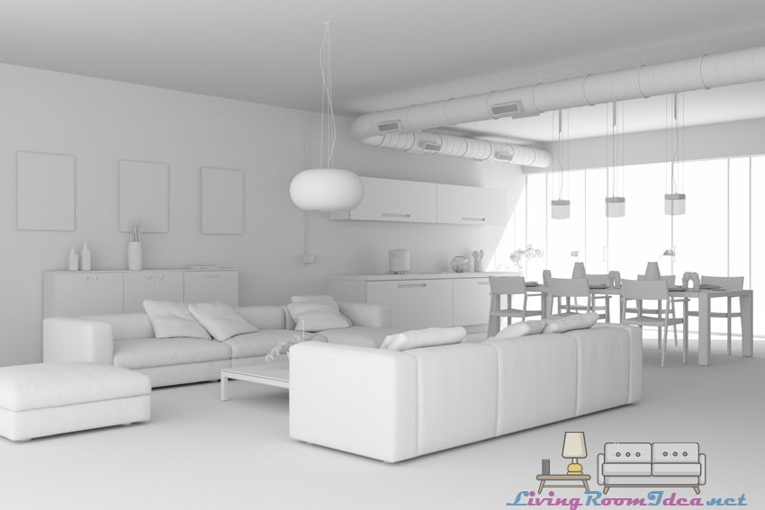 White Living Room and Open Kitchen Ideas